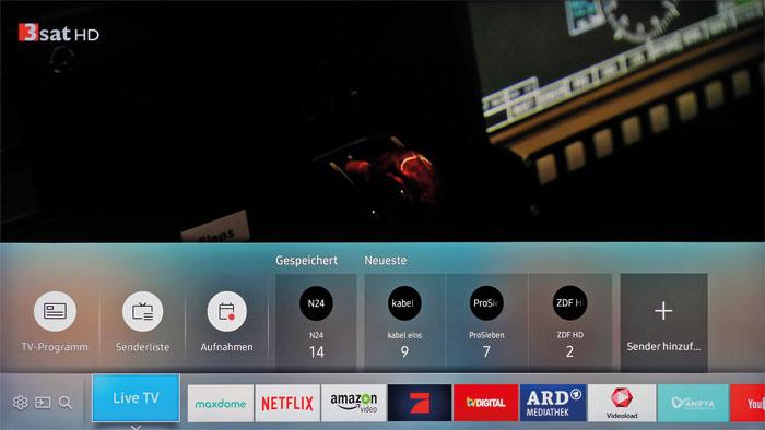 """Favoritenliste: Neben dem Programmführer, der Senderliste und der Aufnahmefunktion finden sich im Reiter """"Live TV"""" auch die persönlichen Lieblingskanäle."""