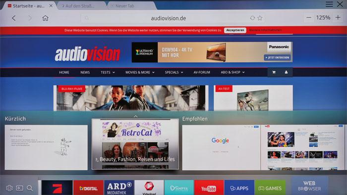 Surfen im großen Stil: Zum Smart-TV-Angebot gehört ein intuitiv bedienbarer Web-Browser. Bildlastige Seiten kommen auf dem XXL-Panel besonders gut zur Geltung.