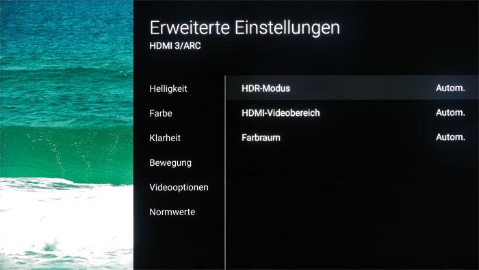 """Verstecktes Highlight: Im erweiterten Bildmenü schlummert unter """"Videooptionen"""" eine manuelle HDR-Konvertierung für normale SDR-Clips – sie erscheinen dann strahlend hell wie HDR-Videos, aber plakativer."""