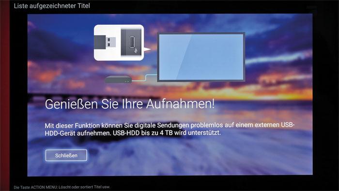 Fester Bestandteil: Der USB-Recorder unterstützt auch große Festplatten mit vier Terabyte Speicherplatz. Aufnahmen sind bis zu zwei Wochen im Voraus programmierbar.