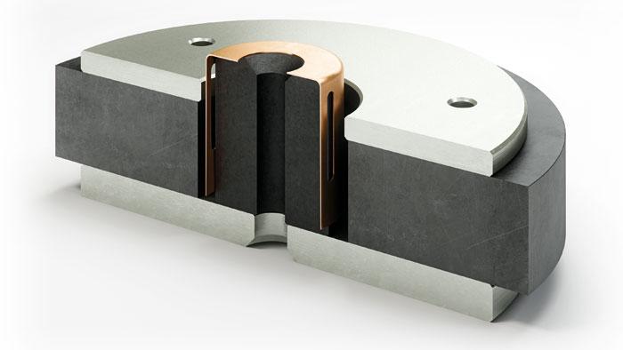 Das Polstück aus SMC (das dunkle zylinderförmige Bauteil in der Mitte des Antriebs) reduziert bei den Tieftönern der Rubicon-Serie den Klirrfaktor.