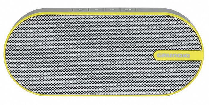 Die frische Optik und die kompakten Abmaße sind die Hauptcharakteristika des portablen Bluetooth-Lautsprechers GSB 150 von Grundig. Sein Akku hält mit einer Ladung bis zu acht Stunden durch.