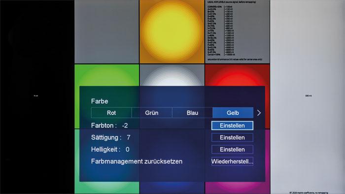 """HDR-Farbmanagement: Unterschiedlich gesättigte Farben lassen sich korrigieren. Leider wirkt der Regler """"Farbort"""" je nach Intensität zu grob, speziell bei Gelb."""
