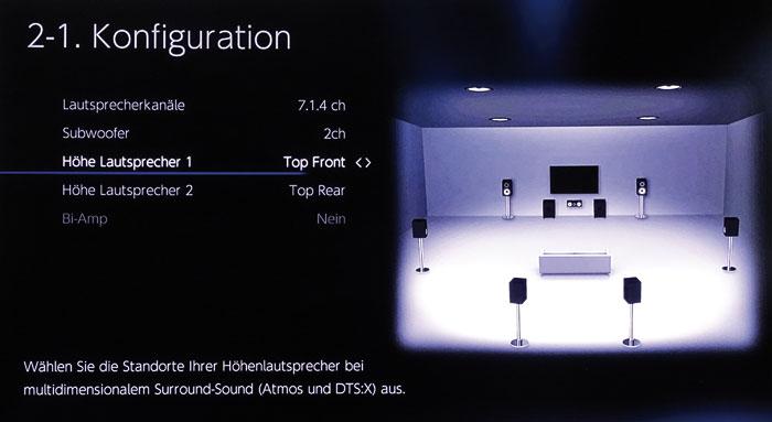 Im Konfigurationsmenü stellt man Art und Anzahl der Boxen ein, hier ein 7.2.4-Setup mit 4 Top-Boxen.