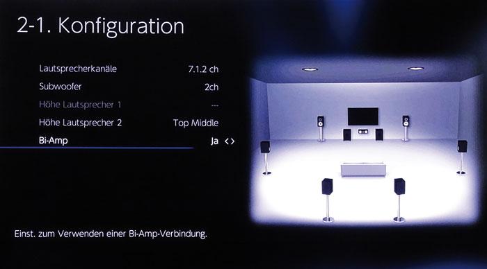 Das Bi-Amping für Hauptlautsprecher lässt sich nur bei Setups bis maximal 2 Höhenboxen aktivieren.