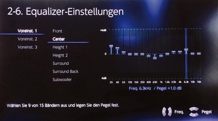 Der 15-bandige Equalizer regelt Frequenzen für Boxenpaare zwischen 25 Hz und 16 kHz.