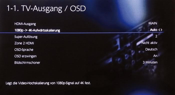 Der rudimentäre Scaler rechnet nur 1080p-Signale auf 4K hoch; die Super-Auflösung schärft das Bild an.