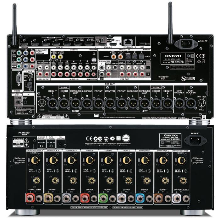 Anschlüsse satt: Die Verkabelung zwischen der Vorstufe und Endstufe erfolgt entweder über die Cinch-Buchsen oder via XLR-Profi-Anschlussvariante. 8 HDMI-Eingänge, 5 digitale und 6 analoge Cinch-Eingänge sowie eine Phono-Buchse dürften keine Engpässe aufkommen lassen.