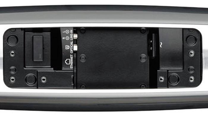 Die Rückseite des Beosound 35 zieren unter anderem eine Netzwerkbuchse, ein optischer Digitaleingang und Line-Anschlüsse für analoge Zuspieler.