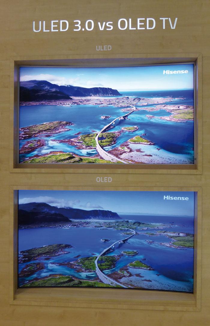 Bereits auf der IFA demonstrierte Hisense die Unterschiede zwischen ihren ULED-Fernsehern und der OLED-Konkurrenz.