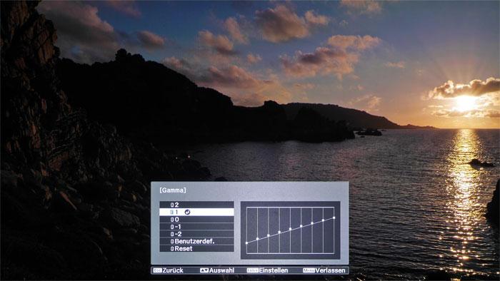 Einfache HDR-Bildjustage: Dank ordentlicher Presets für Helligkeit und Kontrast kommen auch Laien schnell zu guten Resultaten. Die etwas düstere Stimmung des Sonnenuntergangs lässt sich im Gamma-Menü aufhellen.