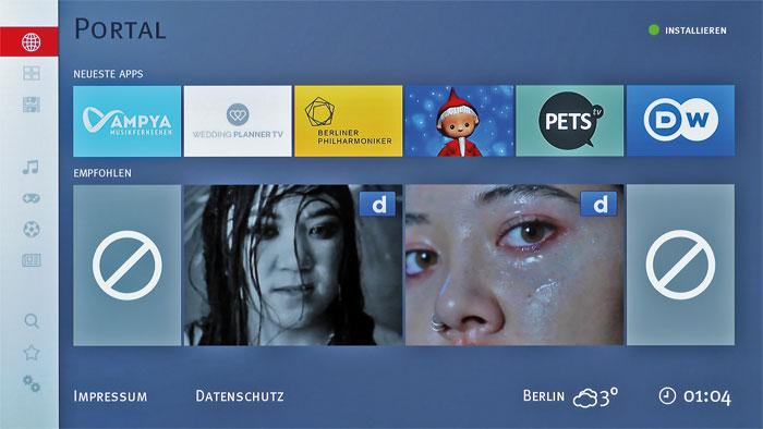 Lückenhaft: Das Smart-TV-Portal stellt zahlreiche Apps zum Download bereit, von den populären Videodiensten YouTube, Netflix und Amazon Video fehlt aber jede Spur.