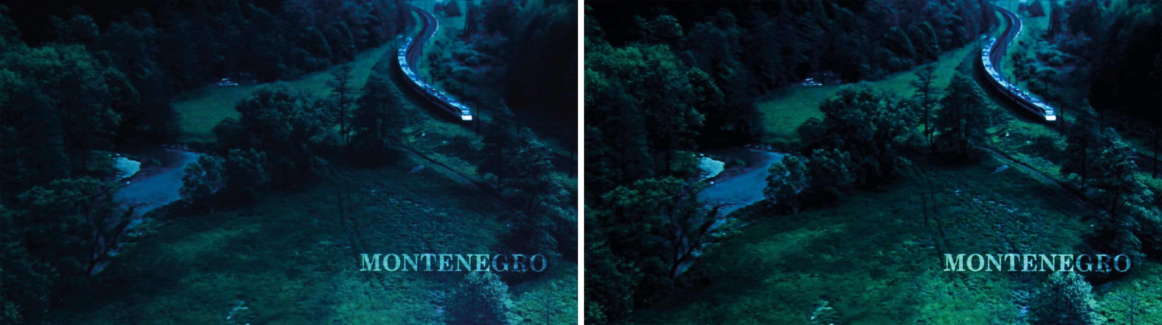 """Die Bildverarbeitung von Darbee analysiert vor allem schwache Kontraste. Zusammen mit """"Dynamic Black"""" wird das zuvor flaue Flussbett neben dem Gleis (links) plakativ neben grünen Wiesen herausgestellt (rechts)."""