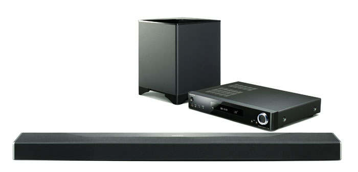 Schick in Schwarz: Das Soundbar-Sytem LS7200 verfügt über einen kabellosen Subwoofer, den eigentlichen Klangriegel und eine externe AV-Steuereinheit.