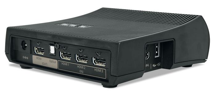Praktische Lösung: Die kleine WiHD-Box verwaltet bis zu vier HDMI-Quellen, eine davon MHL-kompatibel. Per Funk werden sogar HDR-Videos übertragen, sofern die Bildrate auf 30 Hertz begrenzt bleibt.
