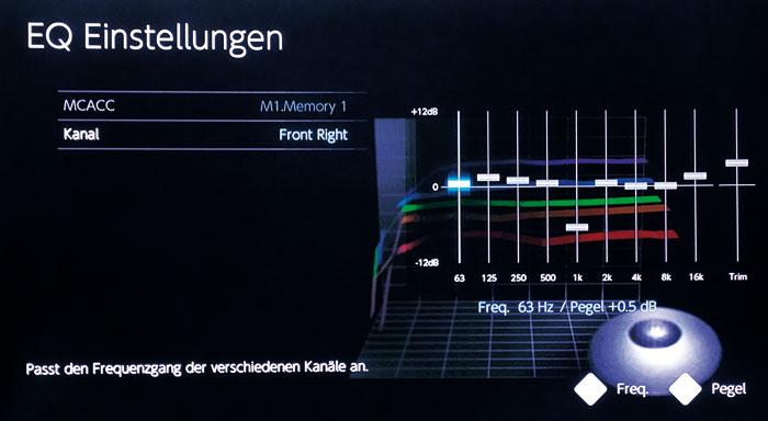 Klangjustage: Der 9-bandige Grafikequalizer regelt Frequenzen zwischen 63 Hz und 16 kHz.