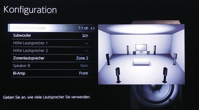 Wer keine 3D-Ton-Setups oder nur 2 Höhenboxen nutzt, kann freie Endstufen für Zonen-Speaker und/oder das Bi-Amping der Frontboxen verwenden.