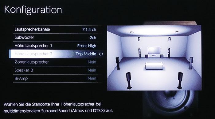 Auch ungewöhnliche Setups wie Front-Heights kombiniert mit Top-Middle-Lautsprechern sind möglich.