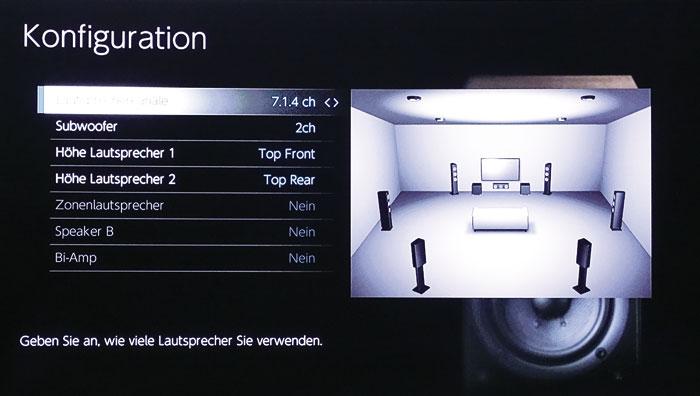 Vielfältige Konfiguration: Der Pioneer erlaubt die Positionierung der Höhenboxen an allen von Dolby und DTS vorgesehen Orten – hier mit 4 Top-Boxen.