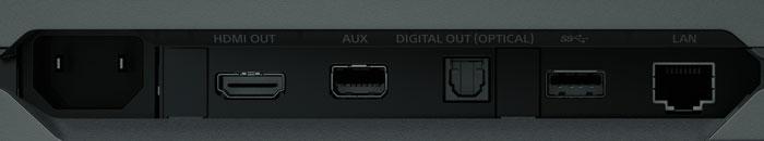 Nur mit dem Nötigsten bestückt: Zu einem HDMI-Ausgang gesellen sich drei (zwei davon vorne) USB-3.1-Schnittstellen sowie Buchsen für Digitalton (Toslink), Ethernet und ein AUX-Port. WLAN und Bluetooth sind integriert.