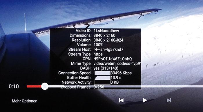 YouTube-Videos flimmern mit bis zu 4K-Auflösung und nativer Bildwechselfrequenz über den Bildschirm.