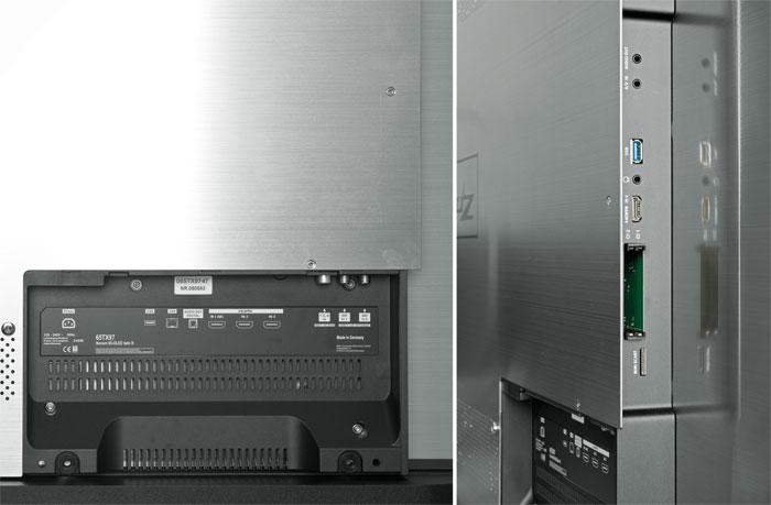 Silberrücken: Die Alu-Rückseite sieht sehr edel aus. Das schwarze Anschlussfeld (linkes Bild) lässt sich hinter einer Abdeckung verstecken. Alle HDMI-Ports sind HDR-fähig.
