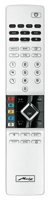 Robuster Handlanger: Wie das TV-Gerät selbst ist auch die Fernbedienung des Metz sehr hochwertig verarbeitet. Etwas gewöhnungsbedürftig finden wir das nach rechts versetzte sowie eher kompakte Cursorfeld.