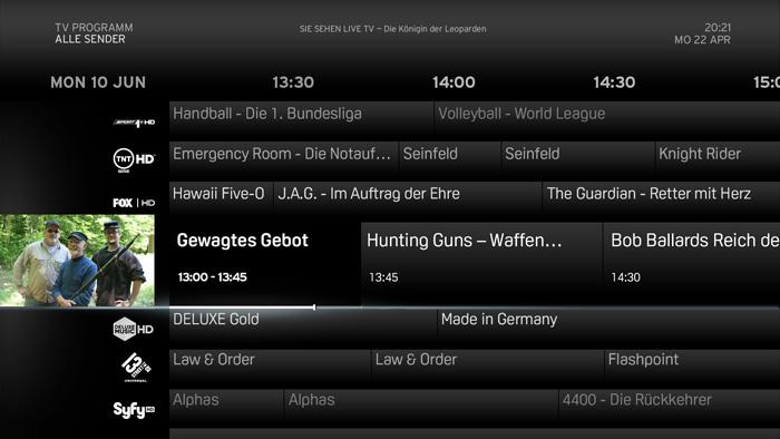 Mit den Programmwechseltasten kann die TV Programmübersicht nun seitenweise durchblättert werden.