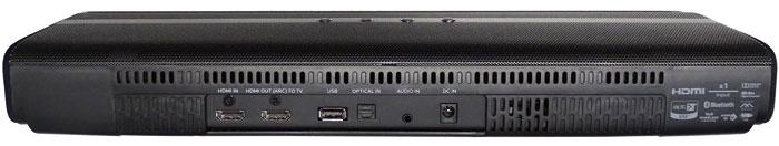 Rückansicht: Die HDMI-Ein- und -Ausgänge beherrschen nur den 1.4-Standard. Musik gelangt zudem via USB, 3,5-mm-Klinkenbuchse und Toslink-Anschluss in die Soundbar. Obendrauf gibt es Bluetooth samt aptX-Unterstützung.
