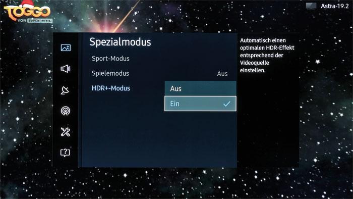 """HDR für alle: Der über das Bildmenü aktivierbare Spezialmodus """"HDR+"""" verleiht nicht nur HDR-Videos, sondern auch TV-Programmen und Online-Streams mehr Dynamik."""