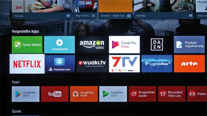 Üppig bestückt: Das Android-Betriebssystem beschert dem KD-49 XD 8005 ein exzellentes Smart-TV-Angebot. Wer eine App vermisst, wird im Google Play Store fündig.