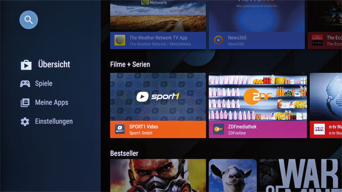 Auf Fernseher zugeschnitten: Der Google Play Store bietet eine so große App-Auswahl wie kaum ein anderer Smart-TV-Anbieter. Hier finden sich auch einige Spiele.