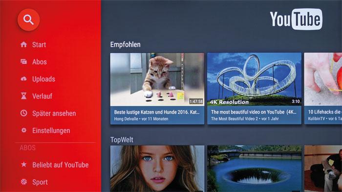 4K-Quelle: Neben den Online-Videotheken von Amazon sowie Netflix streamt auch die YouTube-App in Ultra-HD-Qualität – eine flotte Internetverbindung vorausgesetzt.
