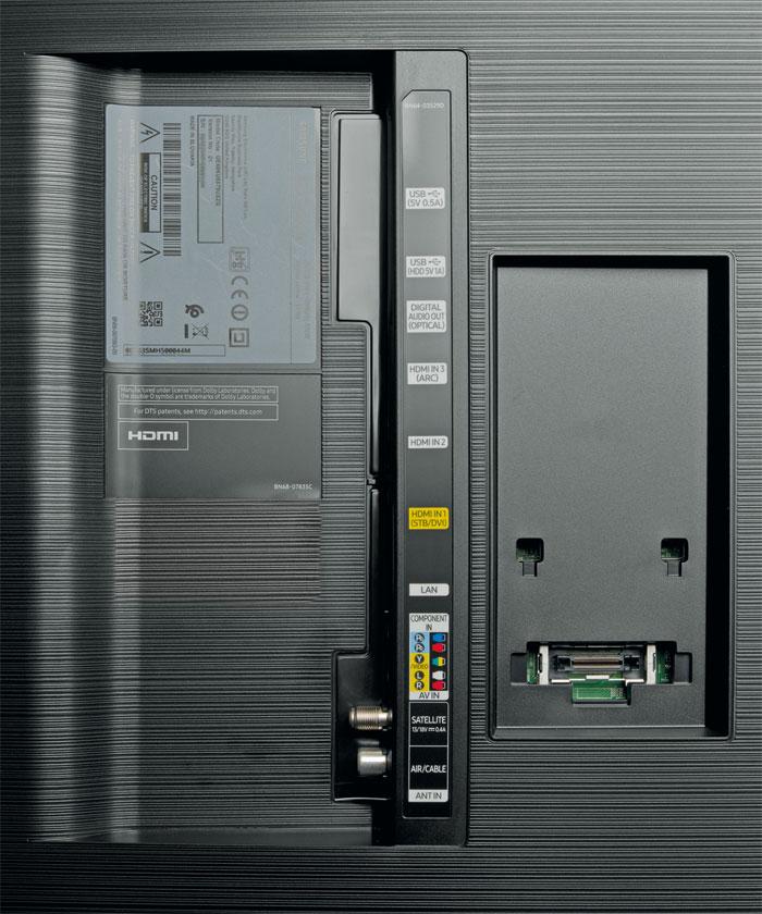 Gut gerüstet: Alle drei HDMI-Eingänge kommen mit 4K-60p- sowie HDR-Videos zurecht. Samsungs Top-TVs bieten aber eine größere Anschlussvielfalt. inklusive Doppel-Tuner.
