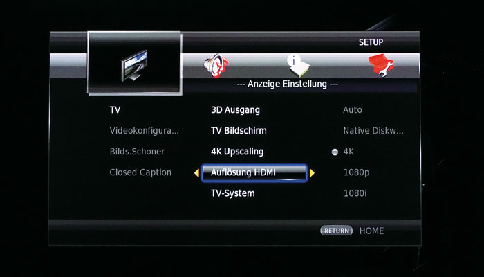 TV-Menü: Bei der Auswahl der HDMI-Auflösung hat man die Qual der Wahl: Neben einem 4K-Upscaling kann man auch die native Disc-Auflösung ausgeben lassen.