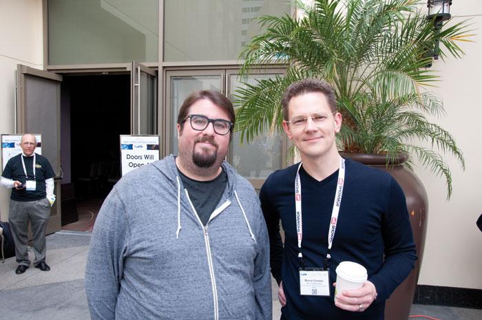 """Marcel Gonska (rechts) und Star-Wars-Produzent Ben Rosenblatt sprachen unter anderem über die UHD-Blu-ray von """"Das Erwachen der Macht""""."""