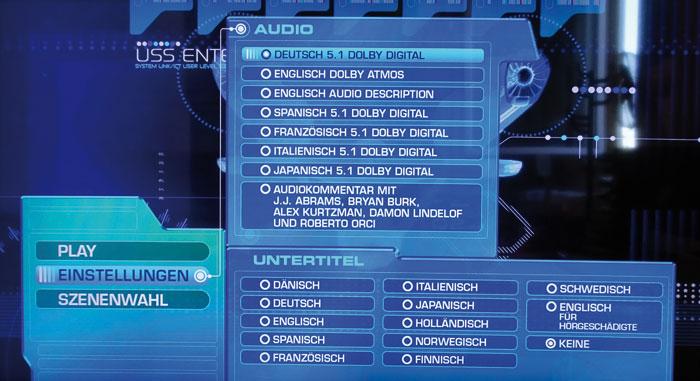 Ärgerlich: Einen Dolby-Atmos-Upmix bekommt man nur bei englischer Sprachwahl.