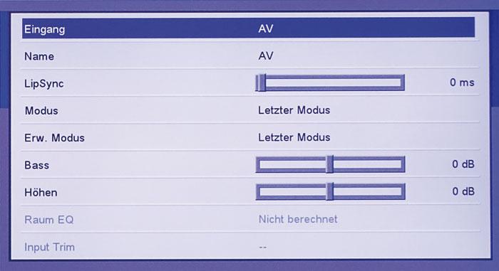 Alle Eingänge lassen sich individuell konfigurieren, u.a. kann man den Lip-Sync sowie Bass/Höhen definieren.
