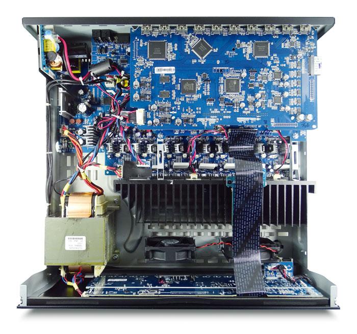Das durchdachte Innenleben des Arcam AVR390 zeigt eine klare Trennung von Trafo, Leistungsverstärkern (Mitte) und den elektronischen Platinen (hinten). Zwei geräuschlose Lüfter versorgen den Kühlkörper mit frischer Luft.