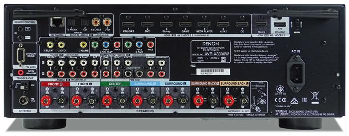 Für einen 1.000-Euro-Receiver ist der Denon AVR-X3300W gut bestückt: Dank zahlreicher Video- und Audioschnittstellen verwaltet er auch einen großen Gerätepark, ein Phono-Eingang fehlt aber. Die Pre-outs unterstützen nur 7.2-Kanäle ohne Höhenboxen. Die Wireless-Antennen besitzen Dual-Band-Unterstützung für 2,4 und 5 GHz.