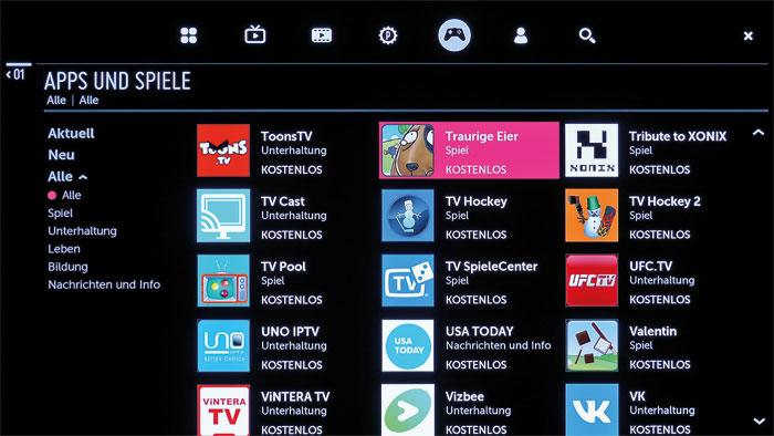 Spielwiese: Im Content Store stehen zahlreiche Smart-TV-Apps zum Gratis-Download bereit. Neben Streaming-Portalen und Musikdiensten finden sich dort auch Spiele.