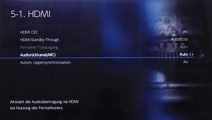 Ton vom Fernseher gelangt über den ARC-Kanal in den Onkyo, der im HDMI-Menü aktiviert werden muss.