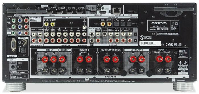 Von den 11 Lautsprecher-Anschlüssen des TX-RZ1100 können 9 gleichzeitig bedient werden. Aufgrund von Pre-outs sind auch 7.2.4-Setups möglich. Die HDCP-2.2-Funktionalität einzelner HDMI-Eingänge ist explizit gekennzeichnet. 2 Koax- und 3 Toslink-Buchsen sowie 6 analoge Cinch-Eingänge sollten keine Engpässe aufkommen lassen.