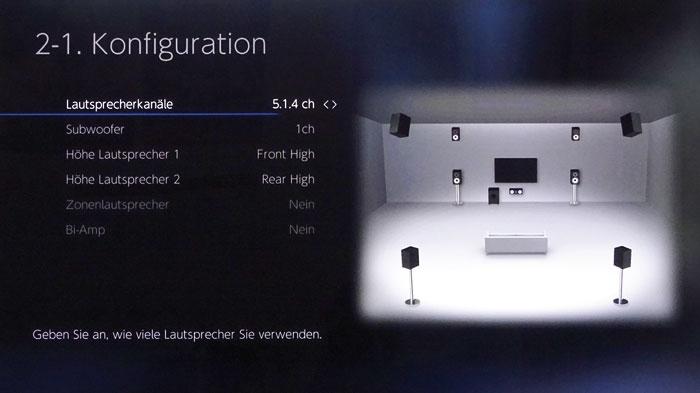Mit seinen 9 Endstufen beschallt der TX-RZ1100 maximal 7.1.2- bzw. 5.1.4-Setups (Bild). Neben Height-Boxen (Bild) sind auch Top-Positionen möglich.