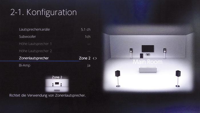 Wer keine 3D-Ton-Setups oder nur 2 Höhenboxen nutzt, kann die freien Endstufen für Zonen-Speaker und/oder das Bi-Amping der Frontboxen verwenden.