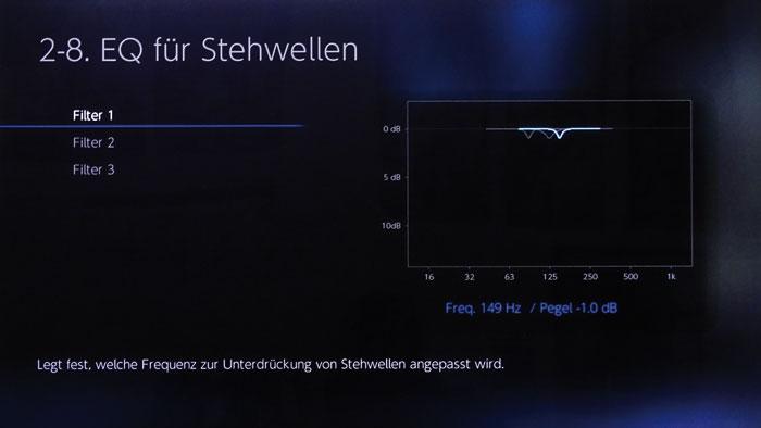"""Der """"EQ für Stehwellen"""" erlaubt das präzise Absenken von Bässen um 12 dB mit drei Frequenzbändern."""