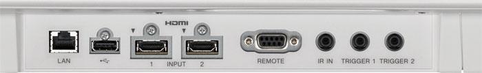 """Zweimal HDMI mit HDR und HDCP 2.2: Das Anschlussterminal des Sony ist jetzt mit zwei gleichwertigen HDMI-Eingängen bestückt. Zudem unterstützt der neue VPL-VW550ES Ultra-HD-Videos mit 50/60p in 10 Bit und wechselt mit HDR-Signalen automatisch auf dazu passende Bildmodi. Auch der Farbraum """"BT.2020"""" wird für HDR aktiviert."""