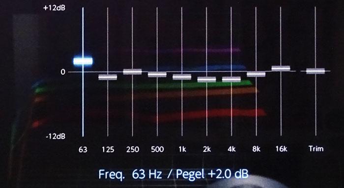 Klangoptimierung: Der Equalizer justiert mit 9 Bändern Frequenzen zwischen 63 Hz und 16 Khz für jede Box. Die beiden Subwoofer regeln je von 31 bis 250 Hz.