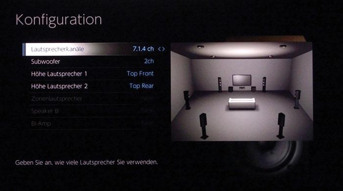 Viele Möglichkeiten: Der Pioneer erlaubt die Positionierung der Höhenboxen an allen von Dolby und DTS vorgesehenen Orten – hier mit 4 Top-Boxen.