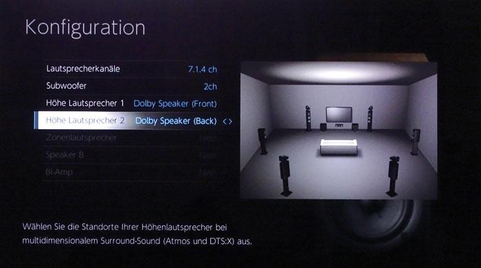 Dolby Enabled Speaker kann man vorne, auf die Surround-Lautsprecher oder auf den Surround-Back-Boxen (Foto) positionieren.